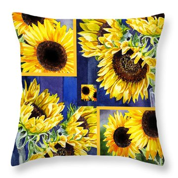 Throw Pillow featuring the painting Sunflowers Sunny Collage by Irina Sztukowski