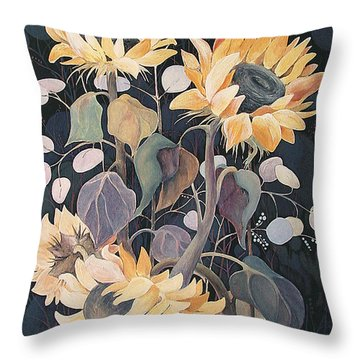Sunflowers' Symphony Throw Pillow by Marina Gnetetsky