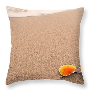 Sunglasses On The Beach Throw Pillow by Sharon Dominick