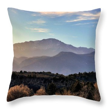 Throw Pillow featuring the photograph Sunglazed Peak by Clarice  Lakota