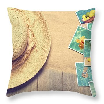 Sunhat And Postcards Throw Pillow by Amanda Elwell