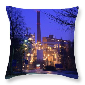 Sunila Pulp Mill By Rainy Night Throw Pillow