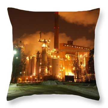 Sunila Pulp Mill By Winter Night Throw Pillow