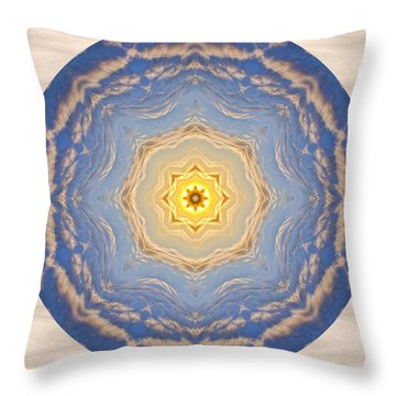 Throw Pillow featuring the photograph Sunlight Cloud Waves Mandala by Beth Sawickie
