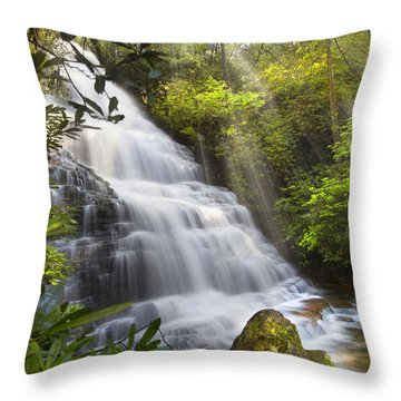 Sunlight On The Falls Throw Pillow by Debra and Dave Vanderlaan