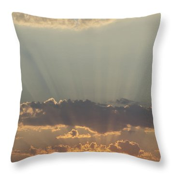 Sunlight Shining Through Clouds And Throw Pillow by Keith Levit