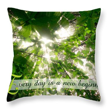 Sunlight Streaming Through Leaves Trees In A Forest Throw Pillow