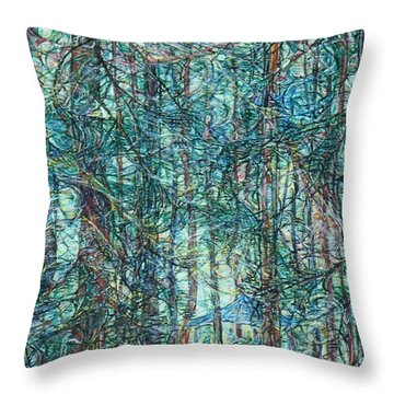 Sunlight Through Pines And Firs Throw Pillow