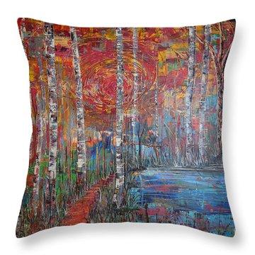Sunlit Birch Pathway Throw Pillow by Jacqueline Athmann
