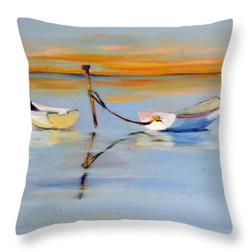 Sunlit Boats Throw Pillow by Trina Teele