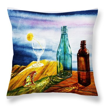 Sunlit Bottles Throw Pillow