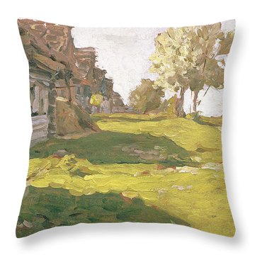 Sunlit Day  A Small Village Throw Pillow by Isaak Ilyich Levitan