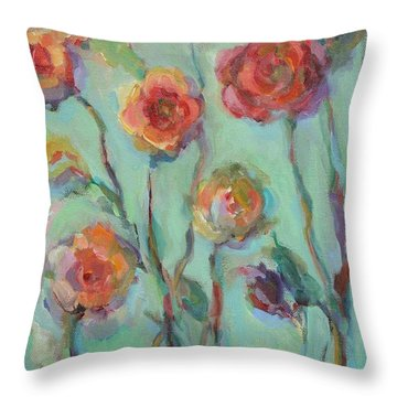 Throw Pillow featuring the painting Sunlit Garden by Mary Wolf