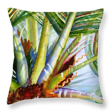 Sunlit Palm Fronds Throw Pillow