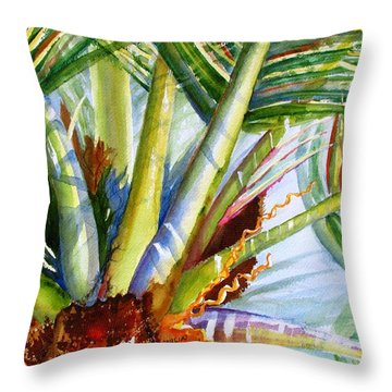 Sunlit Palm Fronds Throw Pillow
