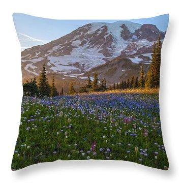 Sunlit Rainier Meadows Throw Pillow by Mike Reid