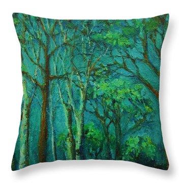 Sunlit Woodland Path Throw Pillow