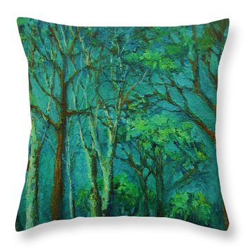 Sunlit Woodland Path Throw Pillow