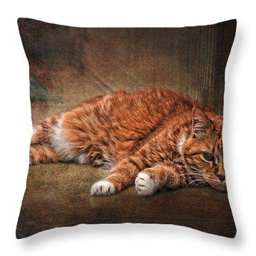 Sunning Throw Pillow by Karen Slagle