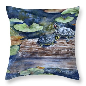 Throw Pillow featuring the painting Sunning Sliders by Mary McCullah