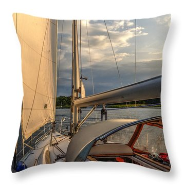Sunny Afternoon Inland Sailing In Poland 2 Throw Pillow