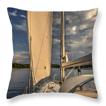 Throw Pillow featuring the photograph Sunny Afternoon Inland Sailing In Poland by Julis Simo