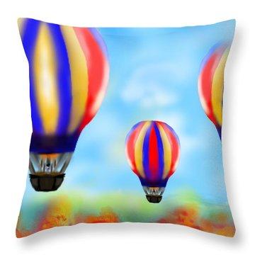 Sunny Balloon Ride Throw Pillow by Christine Fournier