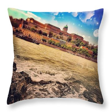 #sunny #day In #budapest #river #boat Throw Pillow