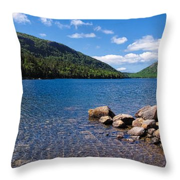 Sunny Day On Jordan Pond   Throw Pillow