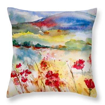 Sunny Field Throw Pillow by Anna Ruzsan