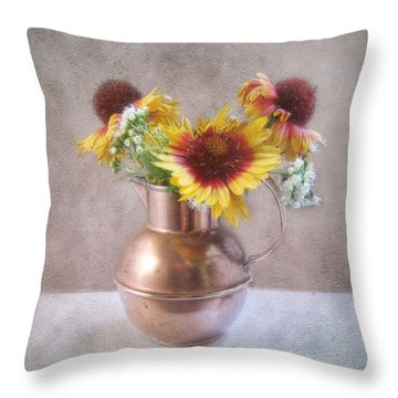 Throw Pillow featuring the photograph Sunny Treasure Flowers In A Copper Jug by Louise Kumpf