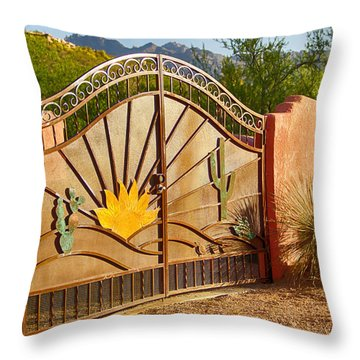 Sunny Gate Throw Pillow by Judi FitzPatrick
