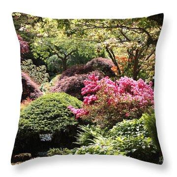 Sunny Japanese Garden Throw Pillow by Carol Groenen