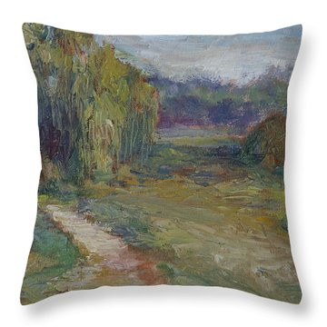 Sunny Morning In The Park -wetlands - Original - Textural Palette Knife Painting Throw Pillow