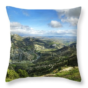 Throw Pillow featuring the photograph Sunny Mountains View With Picturesque Clouds by Julis Simo