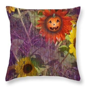 Sunny Pumpkin Throw Pillow by Audra D Lemke