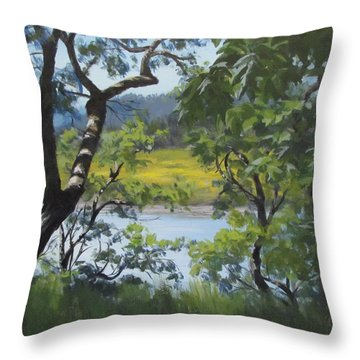 Sunny River Throw Pillow by Karen Ilari