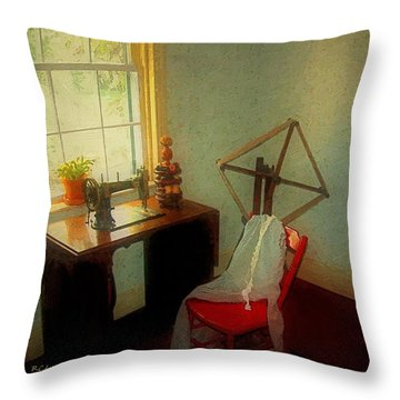 Sunny Sewing Room Throw Pillow by RC deWinter