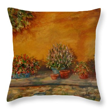 Sunny Sideyard Throw Pillow by Dorothy Allston Rogers