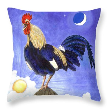 Sunny The Rooster Throw Pillow by Linda Mears