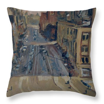 Throw Pillow featuring the painting Sunnysunday At The Damrak Amsterdam by Nop Briex