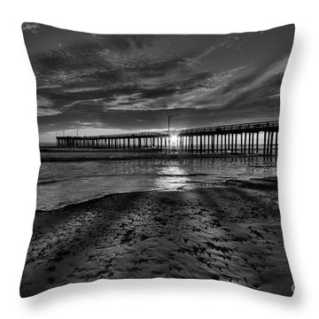 Sunrays Through The Pier In Black And White Throw Pillow