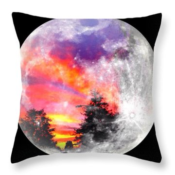 Sunrise And Full Moon Throw Pillow by Anne Thurston