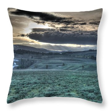 Sunrise At A Small Pond In Yellowstone Throw Pillow
