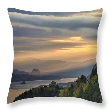 Sunrise At Columbia River Gorge Throw Pillow by David Gn