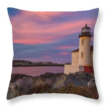 Sunrise At Coquille River Lighthouse Throw Pillow by Patricia Davidson