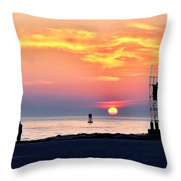 Sunrise At Indian River Inlet Throw Pillow