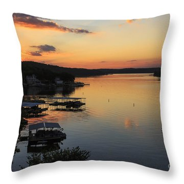 Sunrise At Lake Of The Ozarks Throw Pillow by Dennis Hedberg
