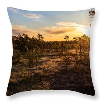 Sunrise At Linnaistensuo Throw Pillow by Janne Mankinen