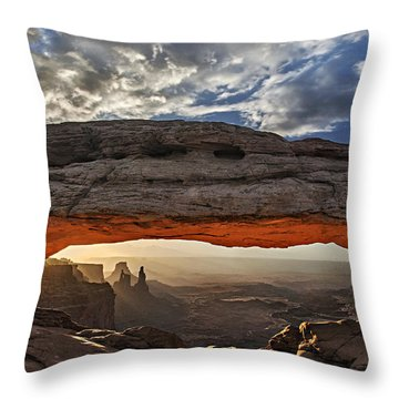 Throw Pillow featuring the photograph Sunrise At Mesa Arch by Roman Kurywczak
